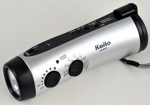 Kaito Ka404W Wind-Up 5-Led Flashlight With Am/Fm Noaa Weather Radio, Cell Phone Charger & Emergency Siren