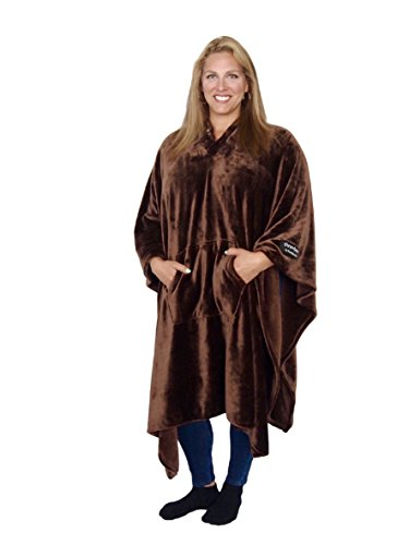 THE MOST COMFORTABLE and SOFTEST EVER!!! Original THROWBEE Blanket-Poncho BROWN Wearable Throw Coat Indoors Outdoors men women kids