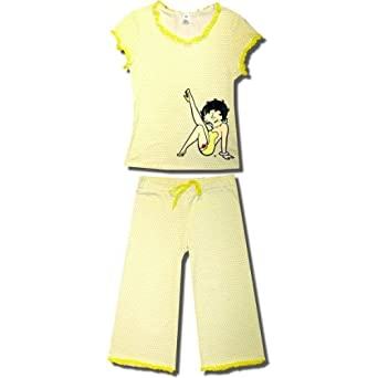 "Betty Boop ""Leg Kick"" S/S Capri Pajamas w/polka dots for Juniors in Yellow - X-Large"