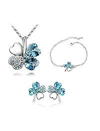 Blue Heart Blue Clover Pendant Necklace & Stud Earring Earring And Bracelet Set