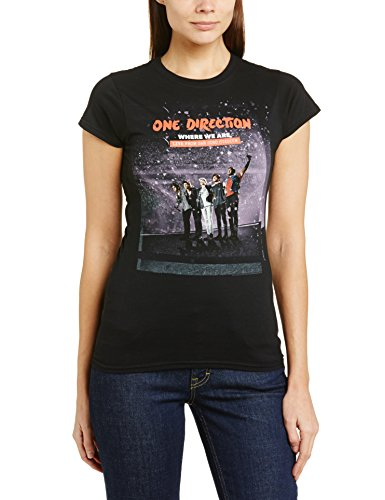 One Direction - T-shirt collo tondo, Donna, Nero (Black), L