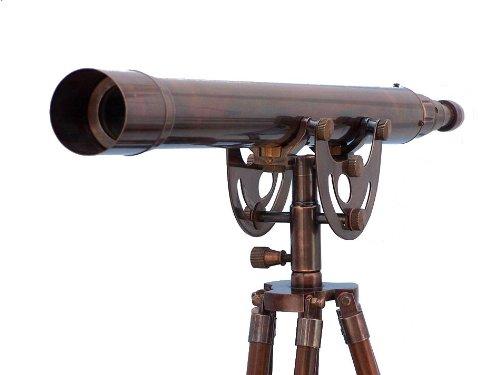 "Handcrafted Nautical Decor Floor Standing Antique Copper Anchormaster Telescope, 50"", Cooper"