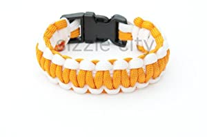 PARACORD BRACELETS, SURVIVAL BRACELETS, ROPE BRACELETS (ORANGE WHITE)