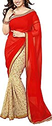 Angel Fashion Studio Women's Georgette Saree (Red)