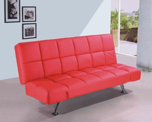 Schlafsofa Bettsofa Bettcouch Schlafcouch Sofa Couch Leder Optik rot günstig kaufen