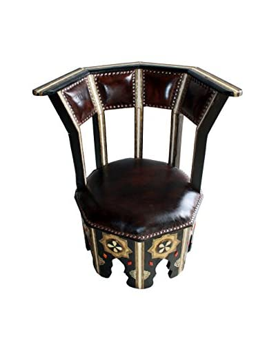Badia Design Moroccan Chair W/ Metal And Bone, Brown/Black/White