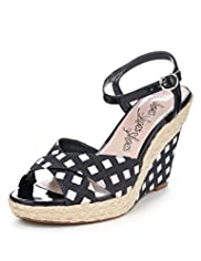 Square Print Crossover Strap Wedge Sandals