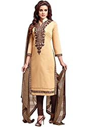 Rudra Fab brown embroidered cotton dress material