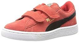 PUMA Suede 2 straps Sneaker (Infant/Toddler/Little Kid) , High Risk Red/Black/Team Gold, 3 M US Little Kid