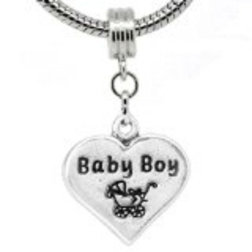 """""""Baby Boy On Heart With Stroller Print Dangle """" Bead For Snake Chain Charm Bracelet front-201226"""