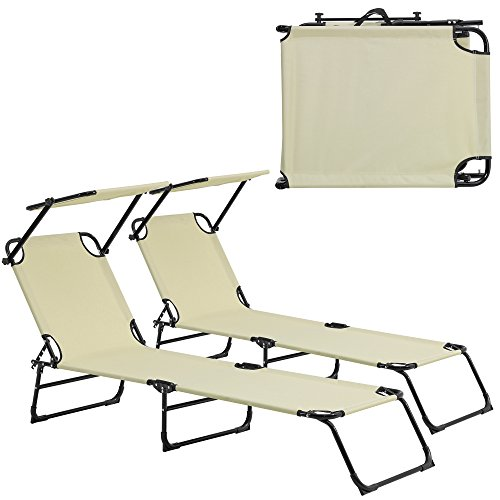 casapro-Sonnenliege-2er-Set-klappbar-190cm-creme-mit-Dach-Relaxliege-Aluminium