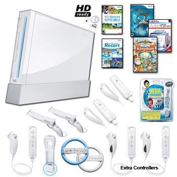 Nintendo Wii White Holiday Family Bundle with Extra Remotes and Nunchucks, Games, Wheels, and Much More