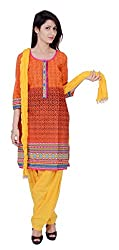 Rama Jaipuri Printed Designer 3/4 Sleeve Orange and Black graphical design printed knee length Kurti