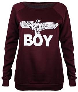 Forever Womens Dope Geek Brookleyn Boy Eagle Print Fleece Sweatshirt (SM-6/8, Boy Wine)
