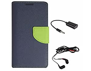 Avzax Diary Look Flip Wallet Case Cover For Xiaomi Mi 4i (Blue) + Audio Cable Splitter + In Ear Headphone