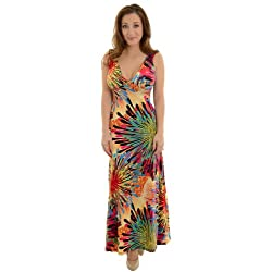 MT Collection Women's Long Maxi Dress with Colorful Print and Keyhole Back