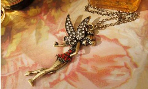 可愛い妖精のネックレス フェアリー アンティーク調 アクセサリー CN-315