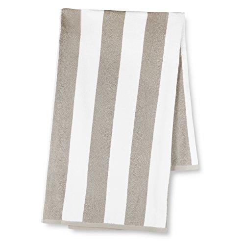luxor-linens-30x70-inch-classic-cabbana-stripe-cotton-plush-beach-towel-sand