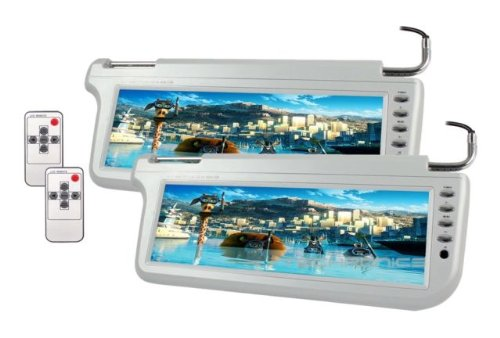 Pair Automotive Gray 12.2 Sunvisor Visor Widescreen Lcd Video Monitor Screens