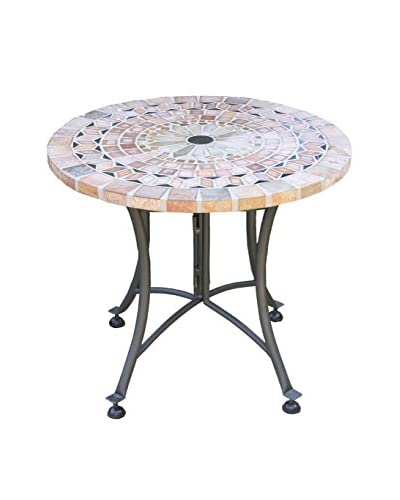 """Outdoor Interiors 24"""" Round Matte Stone Mosaic Accent Table, Multi"""