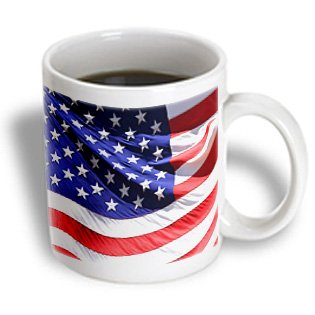 Florene - Patriotic - Print Of Closeup Of American Flag Waving - Mugs - 11Oz Mug