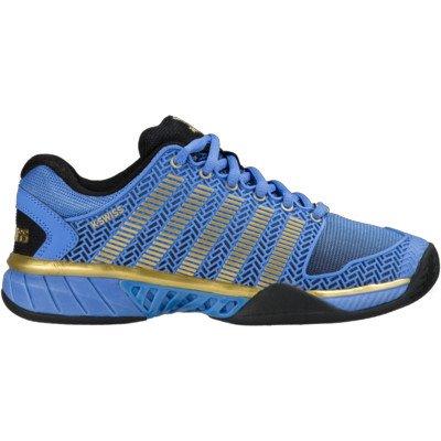 K-Swiss Women's Hypercourt Expr 50th Tennis Shoe, Black/Ultramarine/Gold, 7.5 M US