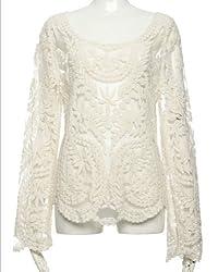 Women's Lace Beige Retro Floral Knit Top Long Sleeve Crochet T Shirt 3811