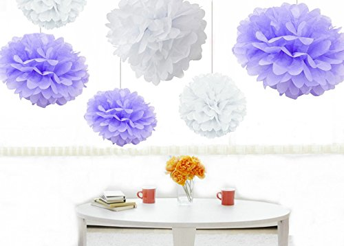 Kubert pom poms 12pcs tissue paper flowerswhite and lavender 3 kubert pom poms 12pcs tissue paper flowerswhite and lavender 3 sizes mightylinksfo