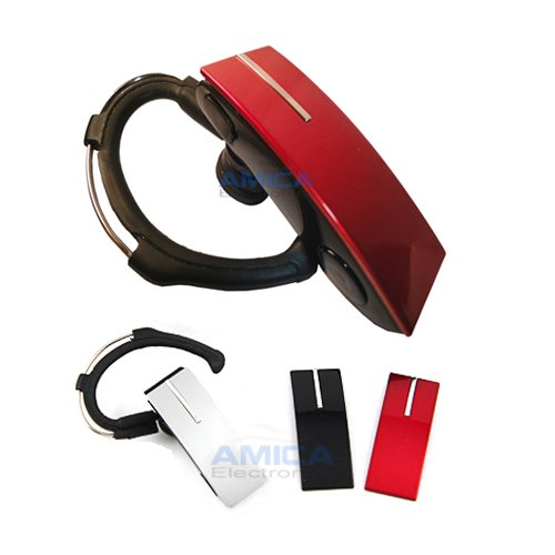 Bluetooth Headset for all Samsung Phones with 3 Changeable Face Plates Black, Red and Silver.