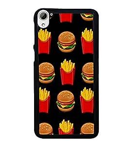 Printvisa Ultra Burger and Fries 2D Hard Polycarbonate Designer Back Case Cover for HTC Desir...