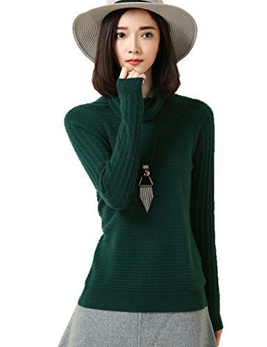 Xiouli Women's 100% Cashmere Slim-Fit Turtleneck Sweater 7226 (L,green)