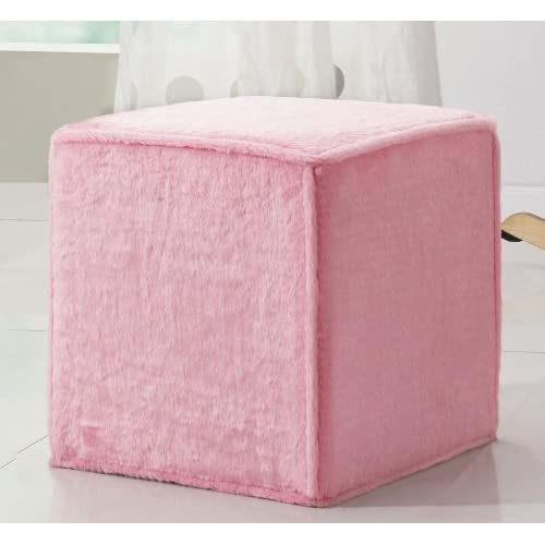 Kids Cube Ottoman In Fuzzy Pink Fabric