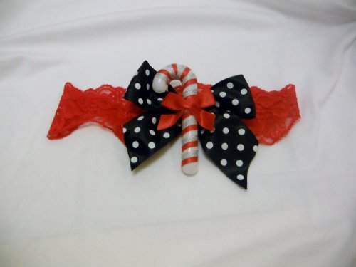 Red Lace Leg Garter with Bow and Candy Cane