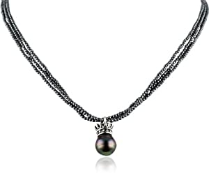 King Baby 3 Strand Hematite Crowned Tahitian Pearl Necklace, 18