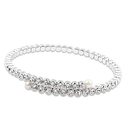 TAOTAOHAS elementi di swarovski austriaco cristallo braccialetto Bracciali [ tripudio di gloria, chiaro ], 18KGP Rhinestone