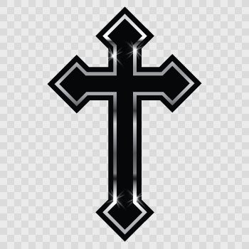 Cross christian symbol trinity Black with Chrome m... Color print (10 X 6.5 inch) ZK659