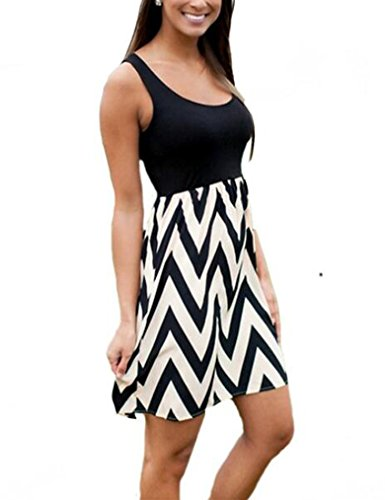 OURS Women's Multi Stripe Chevron Print Tank Casual Summer Dress (L, Black)
