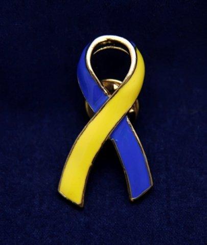 Blue and Yellow Ribbon Pin-Large Ribbon Pin (36 Pins)