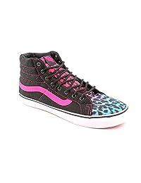 Vans Womens Sk8-Hi Slim Leopard Magenta Blue Black Skateboarding Shoes