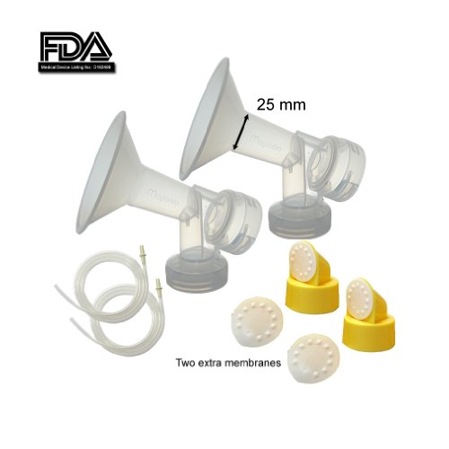 Breast Pump Kit for Medela Pump in Style Pumps; Include 2 Breast Shields (Comparable to Personal Fit 24mm), 2 Valves, 4 Membranes, & 2 Tubes for Pump-in-style Advanced Sold After July 2006; Replace Medela Breastshield & Personal Fit Breastshield Connector, Medela Tubing, Valves and Membranes