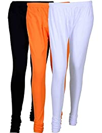 Fashion And Freedom Women's Cotton Leggings Pack Of 3_FFCL_BOW_BLACK-ORANGE-WHITE_FREESIZE