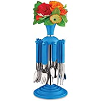 Cutlery Set Regular With Stand Made From Stainless Steel & Virgin Plastic Pack Of 24 Pieces (REVO)