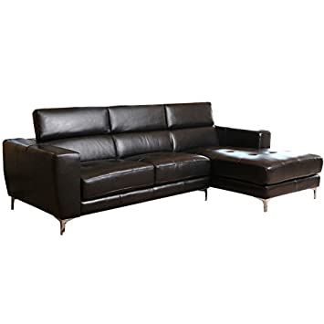 Abbyson Living Montana Leather Right Facing Sectional in Black