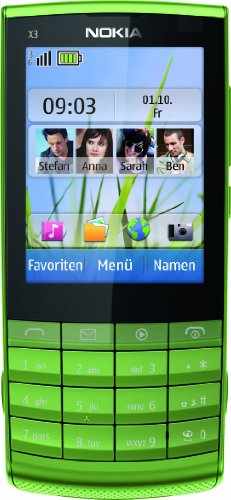 Nokia X3-02.5 Handy (6,1 cm (2,4 Zoll) Display, 5 Megapixel Kamera, Touch and Type) grün