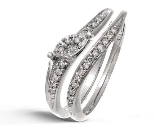 9ct White Gold 0.15ct Diamond Bridal Set Wave Ring - Size M