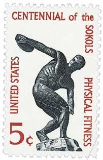 #1262 - 1965 5c Physical Fitness - Sokol U. S. Postage Stamp Plate Block (4)