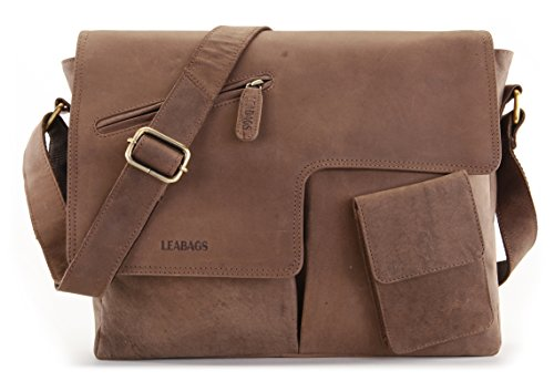 "LEABAGS -""MANCHESTER"" Unisex Leather Satchel Flapover Shoulder Bag Vintage Style made of Genuine Buffalo Leather"