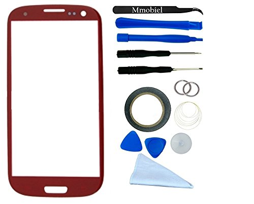 SAMSUNG GALAXY S3 i9300 I747 T999 I939 I535 R530 RED Display Touchscreen Replacement Kit 14 Pieces Including: 1 Replacement Front Glass For SAMSUNG GALAXY S3 i9300 I747 T999 I939 I535 R530 / 1 Pair Of Tweezers / 1 Roll Of 2MM Adhesive Tape / 1 Tool kit / 1 Microfiber Cleaning Cloth / Suction Cup / Wire (Galaxy S3 Red Screen Repair Kit compare prices)