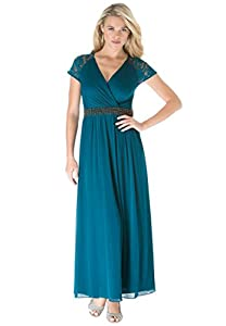 Roamans Women's Plus Size Lace Sleeve Dress (Royal Teal,14 W)