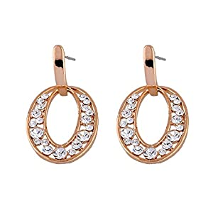 GOMO Delicate Large Round Dangle Earrings 18k Gold Plated Austrian Crystal Drop Earings Girlfriend Jewelry